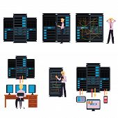 Set Of Server Room Images With Data Center And Young System Administrator Configuring Computer Netwo poster