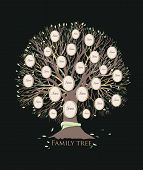 Stylized Family Tree Or Pedigree Chart Template With Branches And Round Photo Frames Isolated On Bla poster