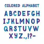 Latin Typeface Or Creative English Alphabet Made Of Blue And Purple Adhesive Tape. Collection Of Sty poster