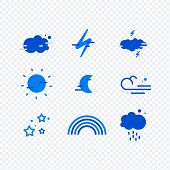 Weather Simple Icons Set For Web And Mobile Design. Mega Pack Of Weather Icons. All Icons For Weathe poster