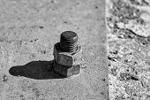 Rusty Screw Metal Nut Screwed With Corroded Bolts On Steel Beam On Grungy Background poster