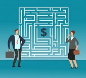 Confused Businessman Thinking How To Pass Out Maze And Get Money. Teamwork And Career Vector Concept poster