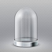 Empty Clear Glass Cylinder Showcase Dome Isolated On Transparent Background Vector Illustration. Exh poster