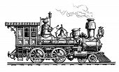 Retro Steam Locomotive, Train. Vintage Sketch Vector Illustration Isolated On White Background poster