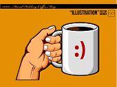 Ilustração #0011 - mão segurando a caneca de café