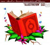 Ilustração #0012 - livro em folhas rodeado com flores