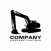 Excavators Construction Machinery Logo, Hydraulic Mining Excavator Vector Logo,. Heavy Construction  poster