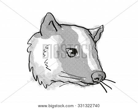 poster of Retro Cartoon Style Drawing Of Head Of A Masked Palm Civet Or Paguma Larvata, An Endangered Wildlife