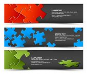 Set of dark puzzle horizontal banners - jigsaw or solution