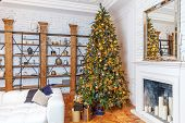Classic Christmas New Year Decorated Interior Room New Year Tree. Christmas Tree With Golden Ornamen poster