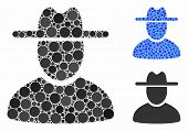 Hat Man Composition Of Round Dots In Variable Sizes And Color Tones, Based On Hat Man Icon. Vector R poster