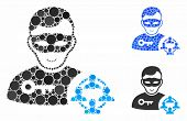 Social Hacker Mosaic Of Filled Circles In Various Sizes And Shades, Based On Social Hacker Icon. Vec poster