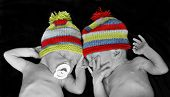 pic of cute little girl  - New born twins with colorful hats - JPG