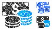Cash Composition Of Round Dots In Different Sizes And Color Tints, Based On Cash Icon. Vector Dots A poster