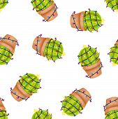 Merry Christmas Seamless Pattern. Happy Cactus In A Christmas Garland On White Background. Cute Navi poster