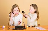 Just Like Playing With Makeup. Children Little Girls Choose Cosmetics. Makeup Store. Experimenting W poster
