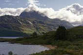 Loch Maree With The Crags Of Caisteal Mor & Slioch (980m) In The Clouds  Loch Maree, Highland, Scotl poster