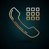 Gold Line Telephone Handset Icon Isolated On Dark Blue Background. Phone Sign. Vector Illustration poster
