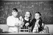 Fascinating Chemistry. Group School Pupils Study Chemistry In School. Boy And Girls Enjoy Chemical E poster