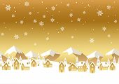 Seamless Vector Winter Townscape Illustration With Text Space. Horizontally Repeatable. poster