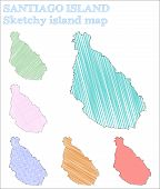 Santiago Island Sketchy Island. Indelible Hand Drawn Illustration. Likable Childish Style Icon. poster
