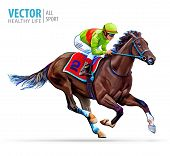 Jockey On Racing Horse. Sport. Champion. Hippodrome. Racetrack. Equestrian. Derby. Speed. Isolated O poster