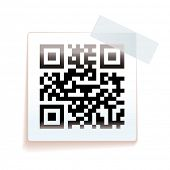 White square paper tag with sticky tape and sale QR code