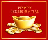 Happy Chinese New Year Text With Gold Ingot And Coins 3d Vector Illustration. poster