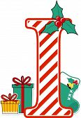 Capital Letter I With Red And White Candy Cane Pattern And Christmas Design Elements Isolated On Whi poster