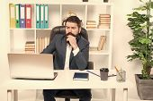 Broker Tracks Financial Indicators. Man Bearded Hipster Boss Sit In Leather Armchair Office Interior poster