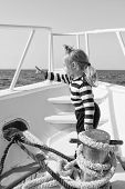 Traveling Adventures And Wanderlust. Funny Kid In Striped Marine Shirt. Happy Little Boy On Yacht. B poster