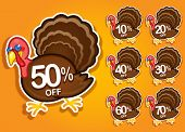 stock photo of gobbler  - Thanksgiving Turkey discount stickers  - JPG