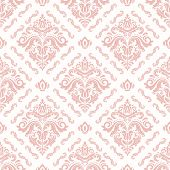 Classic Seamless Pattern. Damask Orient Pink Ornament. Classic Vintage Background. Orient Ornament F poster