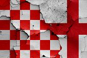 Depiction Of Croatian Checkerboard Flag And England Flag poster