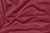 Dark Red Draped Fabric With Silver Lurex Thread poster