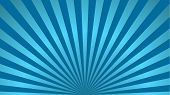Sun Rays Background. Blue Radiate Sun Beam, Burst Effect. Sunbeam Light Flash Boom. Template Poster  poster