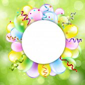stock photo of happy birthday  - Happy Birthday Background With Balloon - JPG