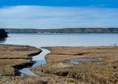 Panoramic Landscape Of An Estuary Viewed From The Estero Trail, Point Reyes National Seashore, Marin poster