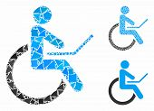Wheelchair Mosaic Of Inequal Parts In Variable Sizes And Color Tones, Based On Wheelchair Icon. Vect poster