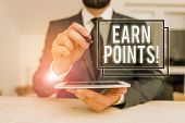 Conceptual Hand Writing Showing Earn Points. Business Photo Showcasing Collecting Scores In Order Qu poster