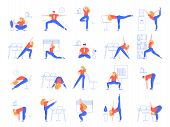 Office Yoga Exercises. Fitness And Yoga Workout For Office Workers, Relaxing And Stretching In Offic poster