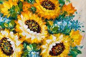 Colorful Fragment Of Flowers Bouquet Oil Painting poster