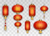 Chinese Red Lanterns On Transparent Background. Asian Elements Golden Flowers And Symbols Of Wealth  poster