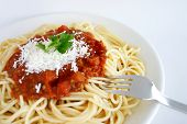 image of italian food  - spaghetti with tomato sauce and cheese - JPG