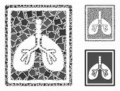 Lungs Fluorography Mosaic Of Joggly Parts In Various Sizes And Color Tinges, Based On Lungs Fluorogr poster