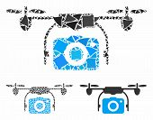 Camera Drone Composition Of Ragged Elements In Variable Sizes And Shades, Based On Camera Drone Icon poster