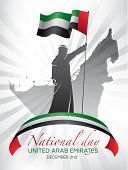 Poster Design For National Day In The United Arab Emirates On December 2nd With A Man Holding A Nati poster