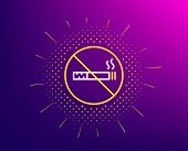 No Smoking Line Icon. Halftone Pattern. Stop Smoke Sign. Hotel Service Symbol. Gradient Background.  poster