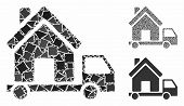 Mobile House Mosaic Of Inequal Pieces In Different Sizes And Color Tones, Based On Mobile House Icon poster