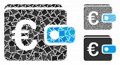 Euro Wallet Mosaic Of Abrupt Pieces In Variable Sizes And Color Tinges, Based On Euro Wallet Icon. V poster